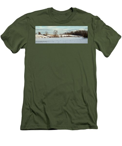 Berkshire Meadow - Winter Panoramic Men's T-Shirt (Athletic Fit)