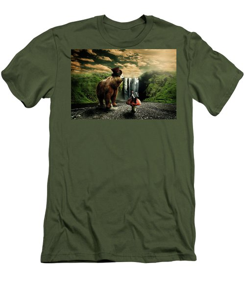 Men's T-Shirt (Slim Fit) featuring the digital art Berlin Bear by Nathan Wright