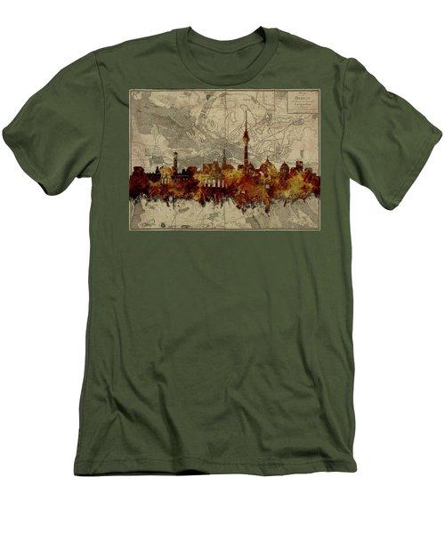 Berlin City Skyline Vintage Men's T-Shirt (Slim Fit) by Bekim Art