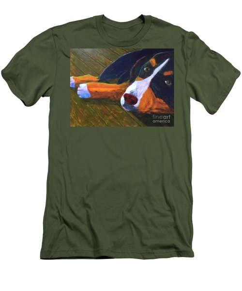 Men's T-Shirt (Slim Fit) featuring the painting Bernese Mtn Dog On The Deck by Donald J Ryker III