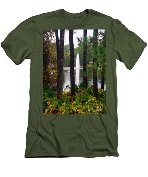 Men's T-Shirt (Athletic Fit) featuring the photograph Between The Fountain by Lori Mellen-Pagliaro