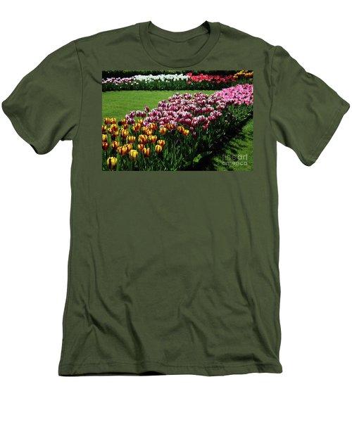 Multicolor Tulips Men's T-Shirt (Slim Fit) by Ana Mireles