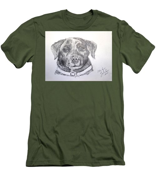 Men's T-Shirt (Slim Fit) featuring the drawing Big Black Dog by Marilyn Zalatan