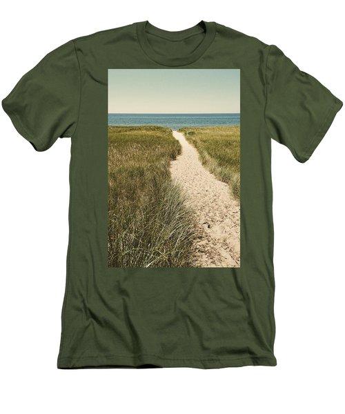 Men's T-Shirt (Athletic Fit) featuring the photograph Big Lake Beach Path by Michelle Calkins