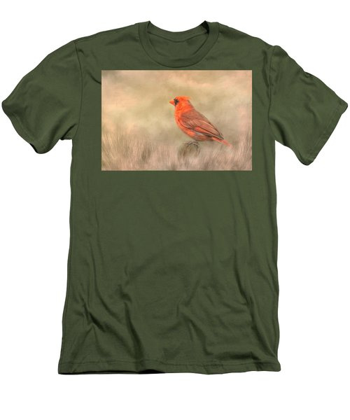 Men's T-Shirt (Slim Fit) featuring the mixed media Big Red by Steven Richardson