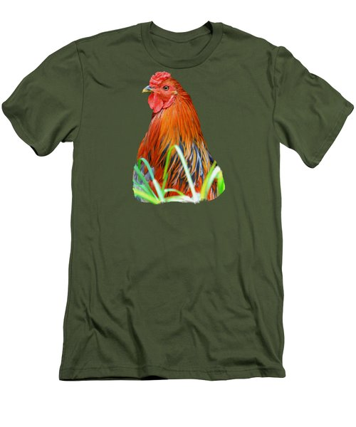 Big Red The Rooster Men's T-Shirt (Slim Fit) by Pamela Walton