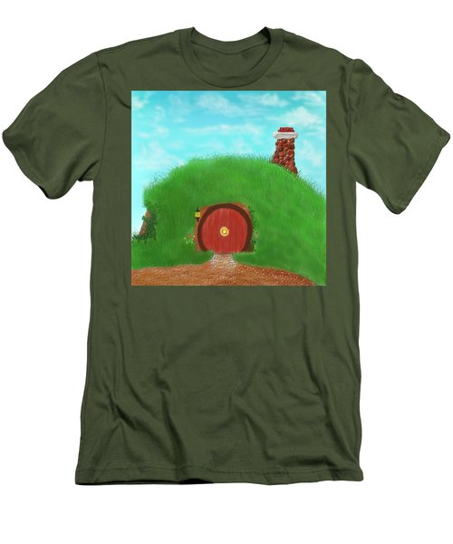Men's T-Shirt (Slim Fit) featuring the painting Bilbo's Home In The  Shire by Kevin Caudill