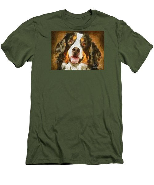 Men's T-Shirt (Slim Fit) featuring the painting Bimbo - Bernese Mountain Dog by Dragica  Micki Fortuna