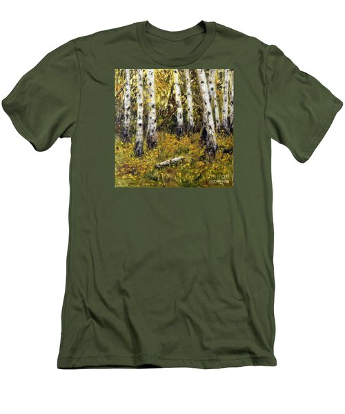 Men's T-Shirt (Slim Fit) featuring the painting Birches by Arturas Slapsys