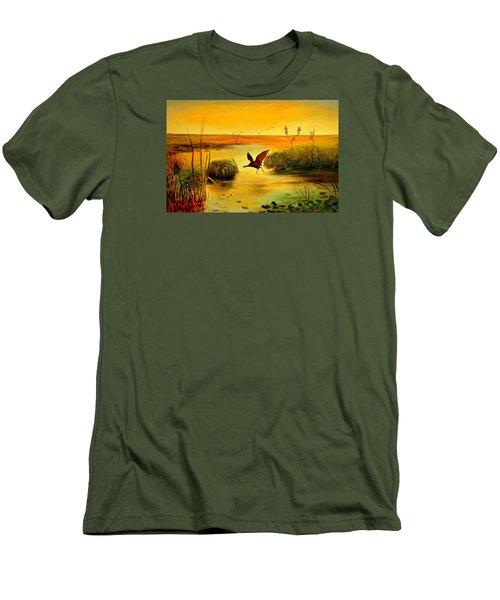 Men's T-Shirt (Slim Fit) featuring the painting Bird Water by Henryk Gorecki