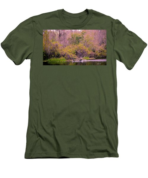 Men's T-Shirt (Slim Fit) featuring the photograph Birds Playing In The Pond 2 by Madeline Ellis