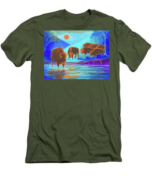Bison Art - Seven Bison At Sunrise Yosemite Painting T Bertram Poole Men's T-Shirt (Slim Fit) by Thomas Bertram POOLE