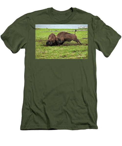 Bison Fighting Men's T-Shirt (Slim Fit) by Cindy Murphy - NightVisions