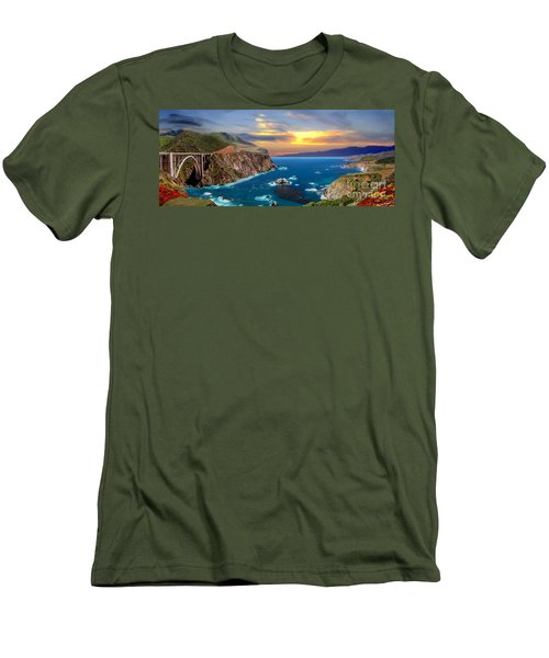 Men's T-Shirt (Slim Fit) featuring the photograph Bixby Creek Bridge by David Zanzinger