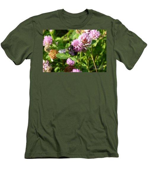 Black Bee On Small Purple Flower Men's T-Shirt (Slim Fit) by Jean Bernard Roussilhe