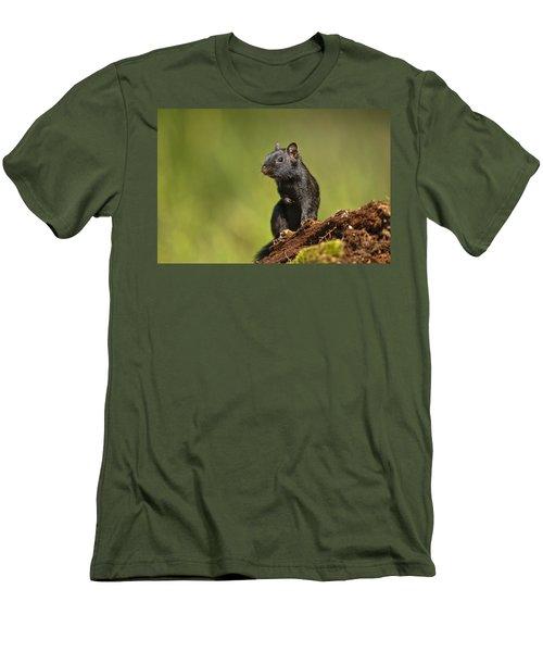 Black Chipmunk On Log Men's T-Shirt (Athletic Fit)