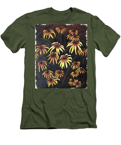 Men's T-Shirt (Athletic Fit) featuring the painting Black Eyed Susie by Bonnie Heather