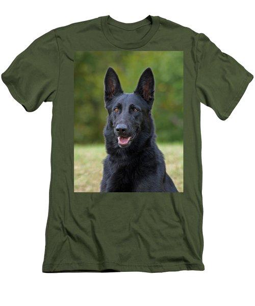 Black German Shepherd Dog Men's T-Shirt (Slim Fit) by Sandy Keeton