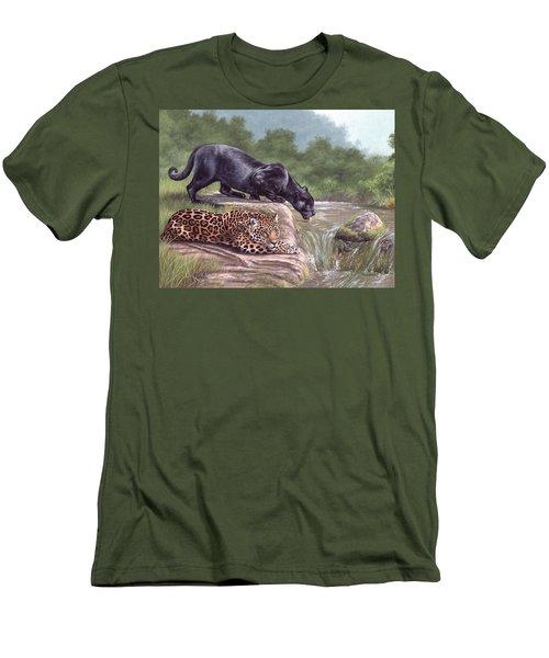 Black Panther And Jaguar Men's T-Shirt (Athletic Fit)