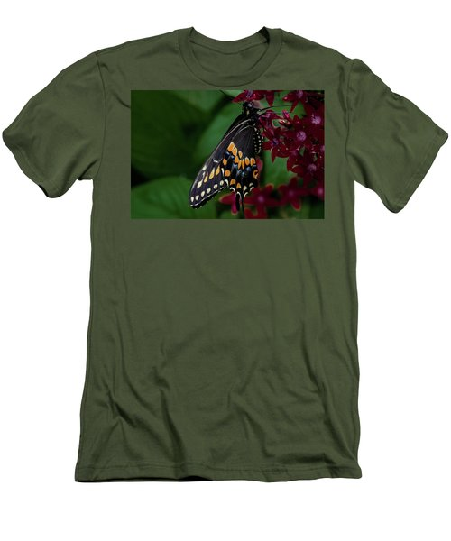 Men's T-Shirt (Slim Fit) featuring the photograph Black Swallowtail Butterfly by Jay Stockhaus