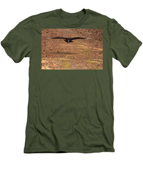 Black Vulture In Flight Men's T-Shirt (Slim Fit) by Chris Flees