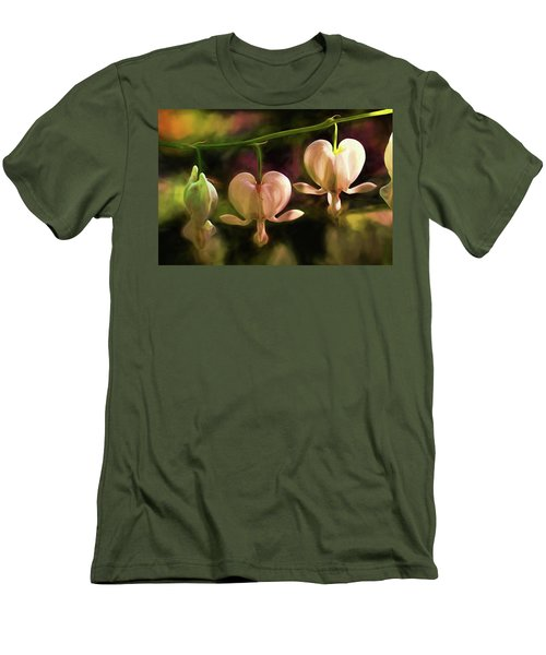 Men's T-Shirt (Slim Fit) featuring the painting Bleeding Hearts In My Secret Garden by Peggy Collins