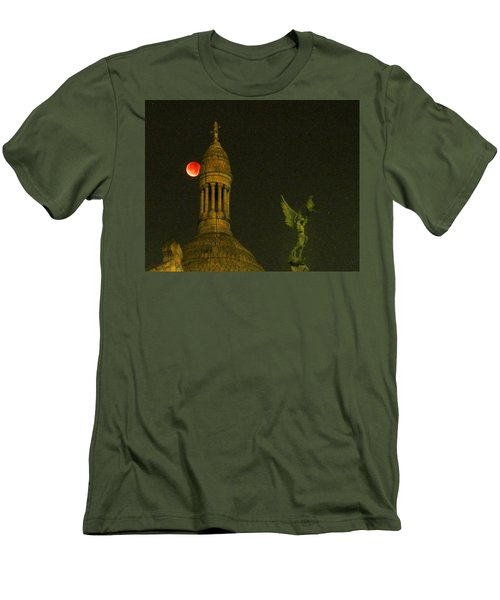 Men's T-Shirt (Slim Fit) featuring the photograph Blood Moon Eclipse At Sacre Coeur Paris  2015 by Sally Ross