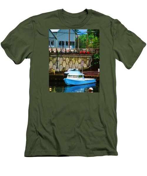 Blue Boat By The Mamalahoa Highway Men's T-Shirt (Slim Fit) by Timothy Bulone
