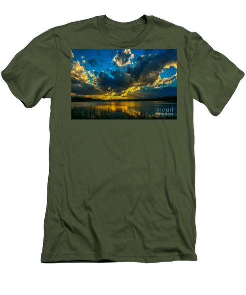 Blue And Gold Sunset With Rays Men's T-Shirt (Slim Fit) by Tom Claud