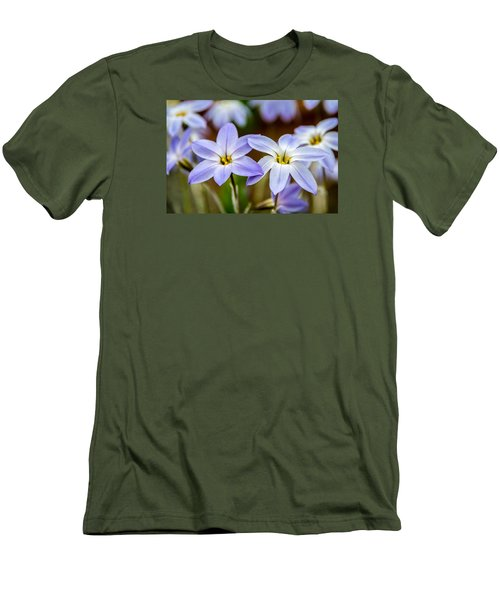 Blue And White Flowers  Men's T-Shirt (Athletic Fit)