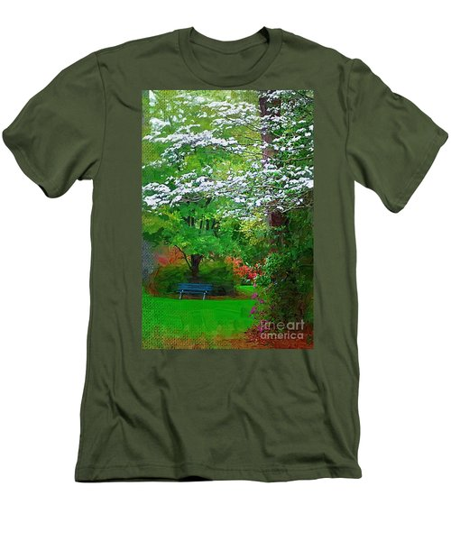 Men's T-Shirt (Slim Fit) featuring the photograph Blue Bench In Park by Donna Bentley