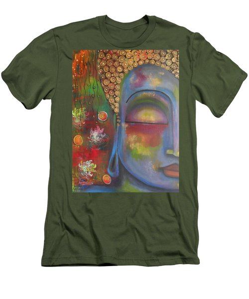 Men's T-Shirt (Slim Fit) featuring the painting Buddha In Blue Meditating  by Prerna Poojara