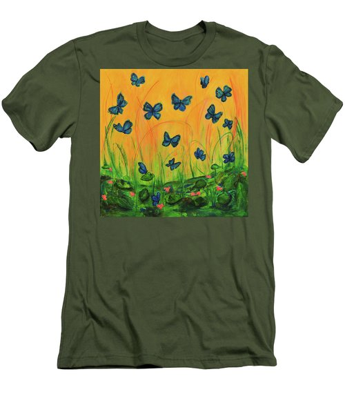 Blue Butterflies In Early Morning Garden Men's T-Shirt (Athletic Fit)