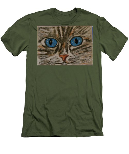 Men's T-Shirt (Slim Fit) featuring the painting Blue Eyed Tiger Cat by Kathy Marrs Chandler