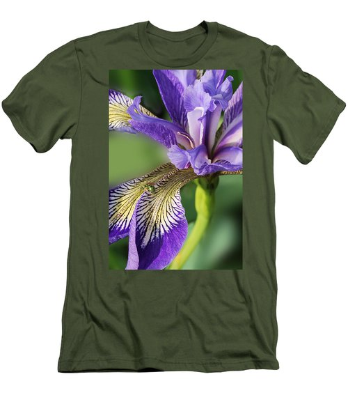 Men's T-Shirt (Slim Fit) featuring the photograph Blue Flag  by Susan Capuano
