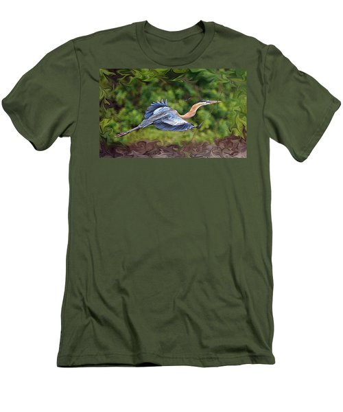 Men's T-Shirt (Slim Fit) featuring the photograph Blue Heron Flight by Shari Jardina