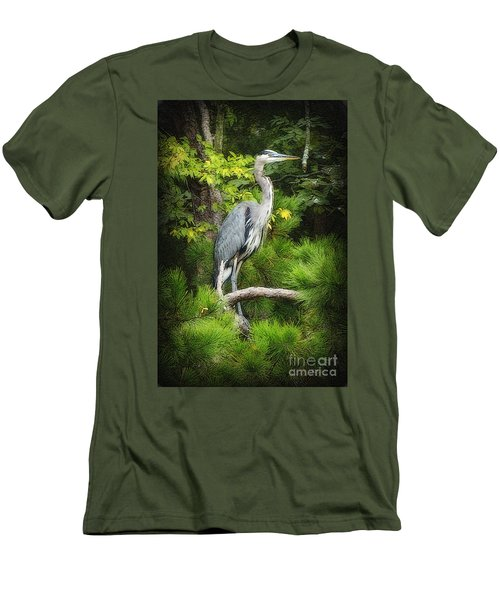 Blue Heron Men's T-Shirt (Slim Fit) by Lydia Holly