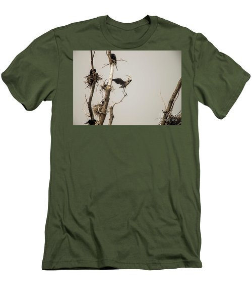 Men's T-Shirt (Slim Fit) featuring the photograph Blue Heron Posing by David Bearden