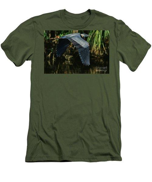 Men's T-Shirt (Slim Fit) featuring the photograph Blue Heron Series The Pond by Deborah Benoit