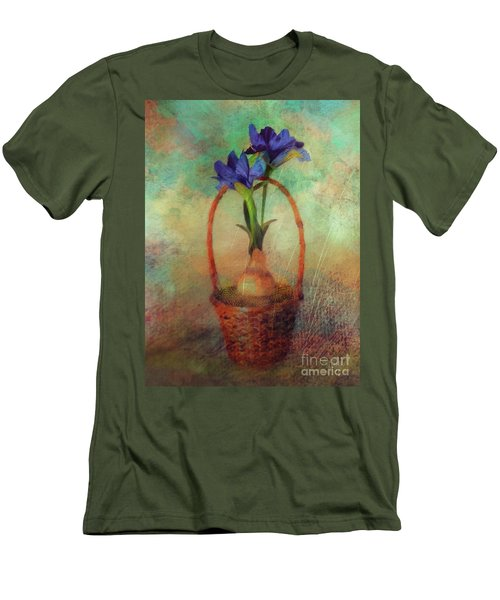 Men's T-Shirt (Athletic Fit) featuring the digital art Blue Iris In A Basket by Lois Bryan