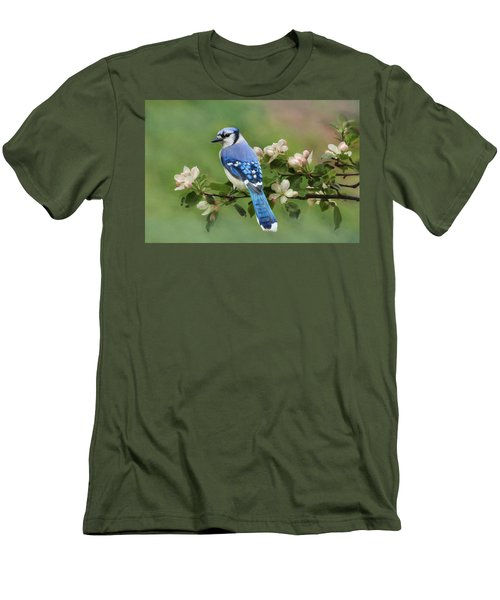 Blue Jay And Blossoms Men's T-Shirt (Athletic Fit)