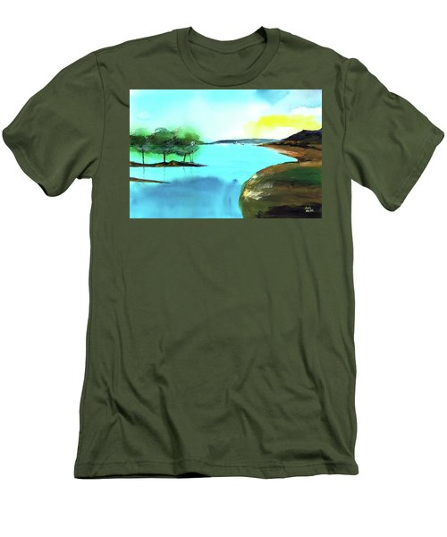 Men's T-Shirt (Slim Fit) featuring the painting Blue Lake by Anil Nene
