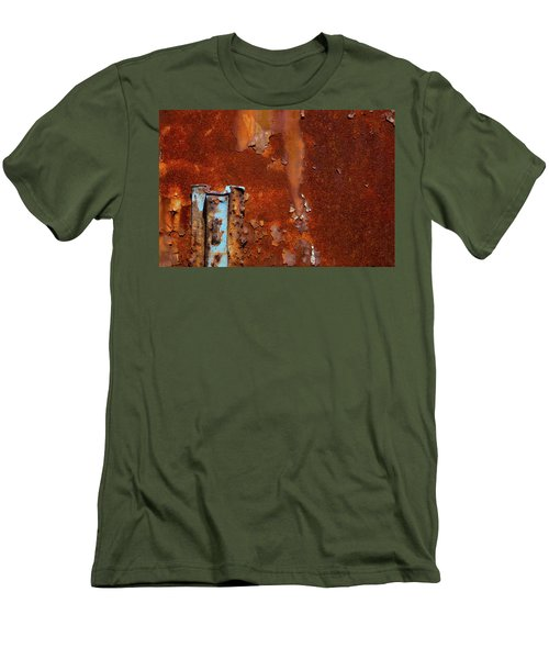 Men's T-Shirt (Slim Fit) featuring the photograph Blue On Rust by Karol Livote