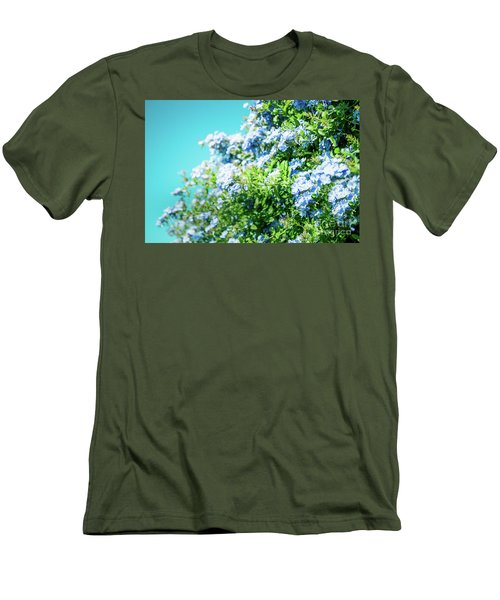 Blue Plumbago Maui Hawaii Men's T-Shirt (Slim Fit) by Sharon Mau