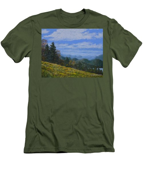 Men's T-Shirt (Slim Fit) featuring the painting Blue Ridge Impression by Kathleen McDermott