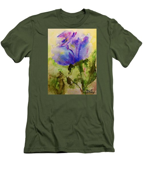 Men's T-Shirt (Slim Fit) featuring the painting Blue Rose Watercolor by AmaS Art
