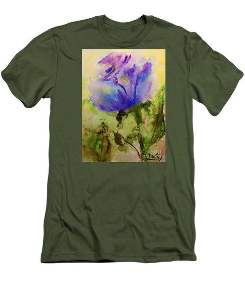 Blue Rose Watercolor Men's T-Shirt (Slim Fit)