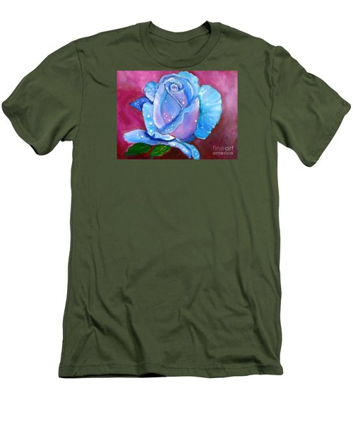 Blue Rose With Dew Drops Men's T-Shirt (Athletic Fit)