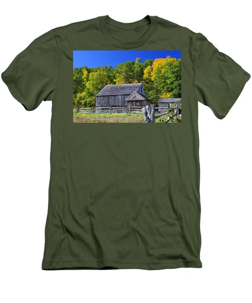 Blue Sky Autumn Barn Men's T-Shirt (Athletic Fit)