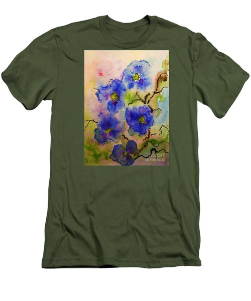 Men's T-Shirt (Slim Fit) featuring the painting Blue Spring Flowers Watercolor by AmaS Art